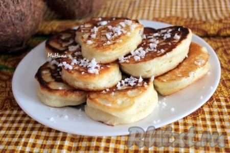 Пышные, вкусные оладьи с кокосовой стружкой станут прекрасным завтраком.<br />